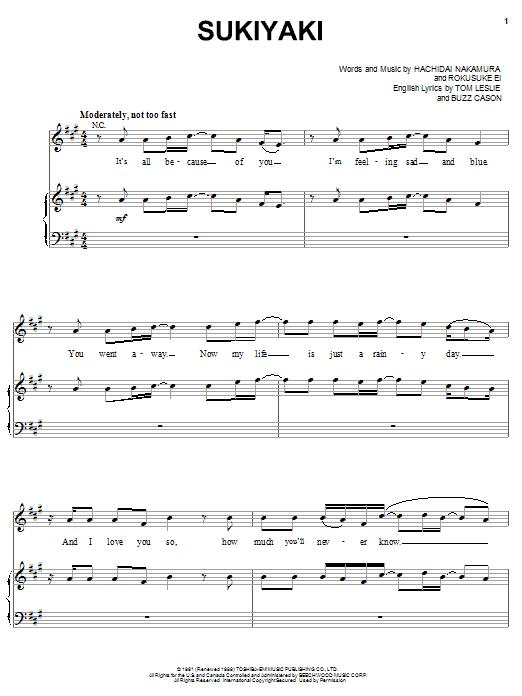 4 P.M. Sukiyaki sheet music notes and chords. Download Printable PDF.