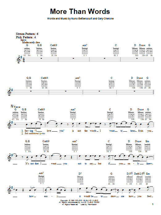 Extreme More Than Words Sheet Music Notes Chords Printable Pop