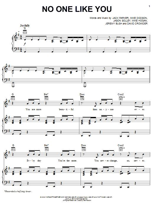 David Crowder Band No One Like You Sheet Music Notes Chords