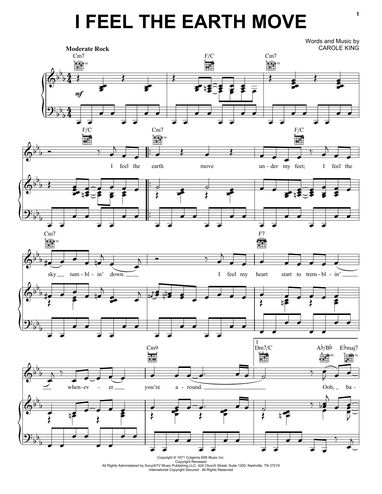 Carole King I Feel The Earth Move Sheet Music Notes Chords