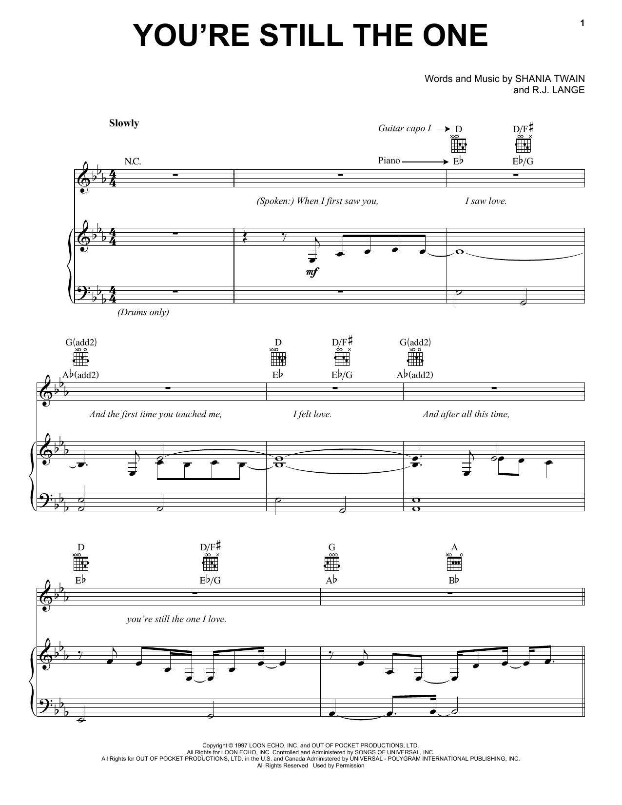 Shania Twain Youre Still The One Sheet Music Notes Chords