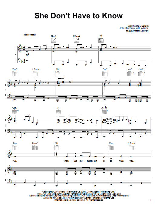 John Legend She Dont Have To Know Sheet Music Notes Chords