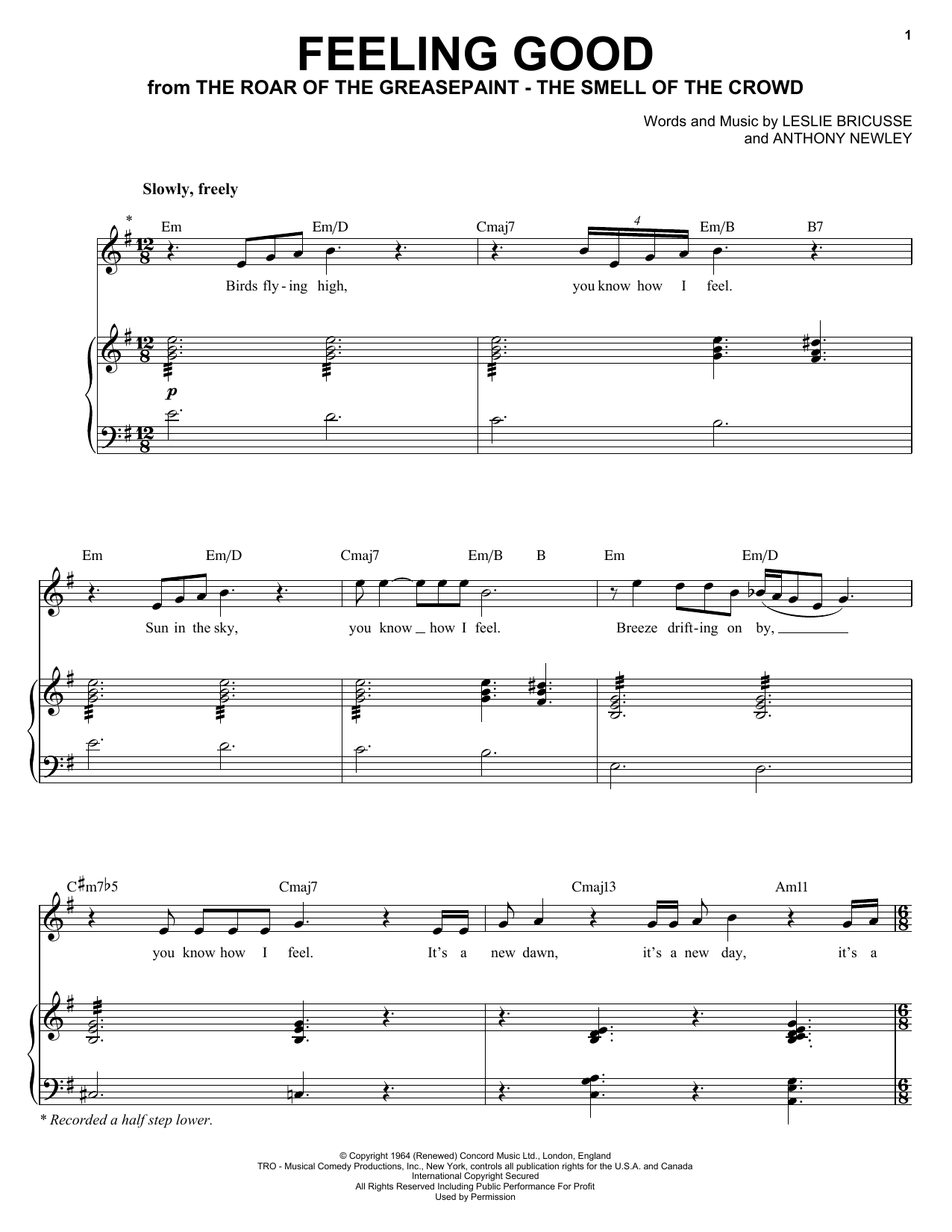 Michael Buble Feeling Good Sheet Music Notes Chords Printable