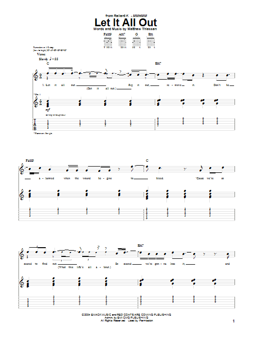 Relient K Let It All Out Sheet Music Notes Chords Printable Pop