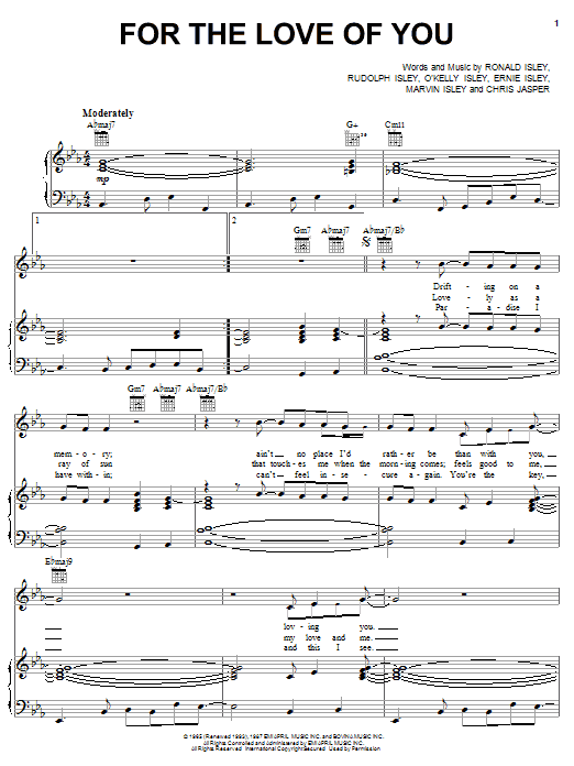 The Isley Brothers For The Love Of You Sheet Music Notes Chords