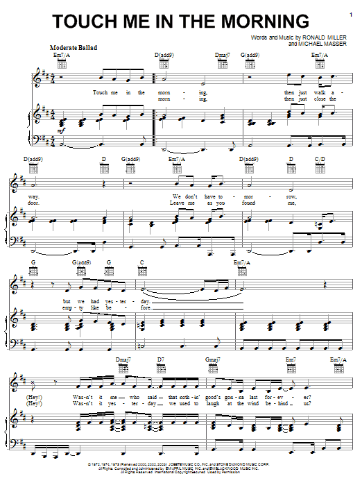 Diana Ross Touch Me In The Morning Sheet Music Notes Chords