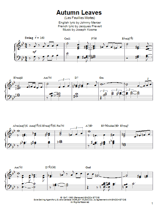 Download autumn leaves easy piano sheet music by joseph kosma.