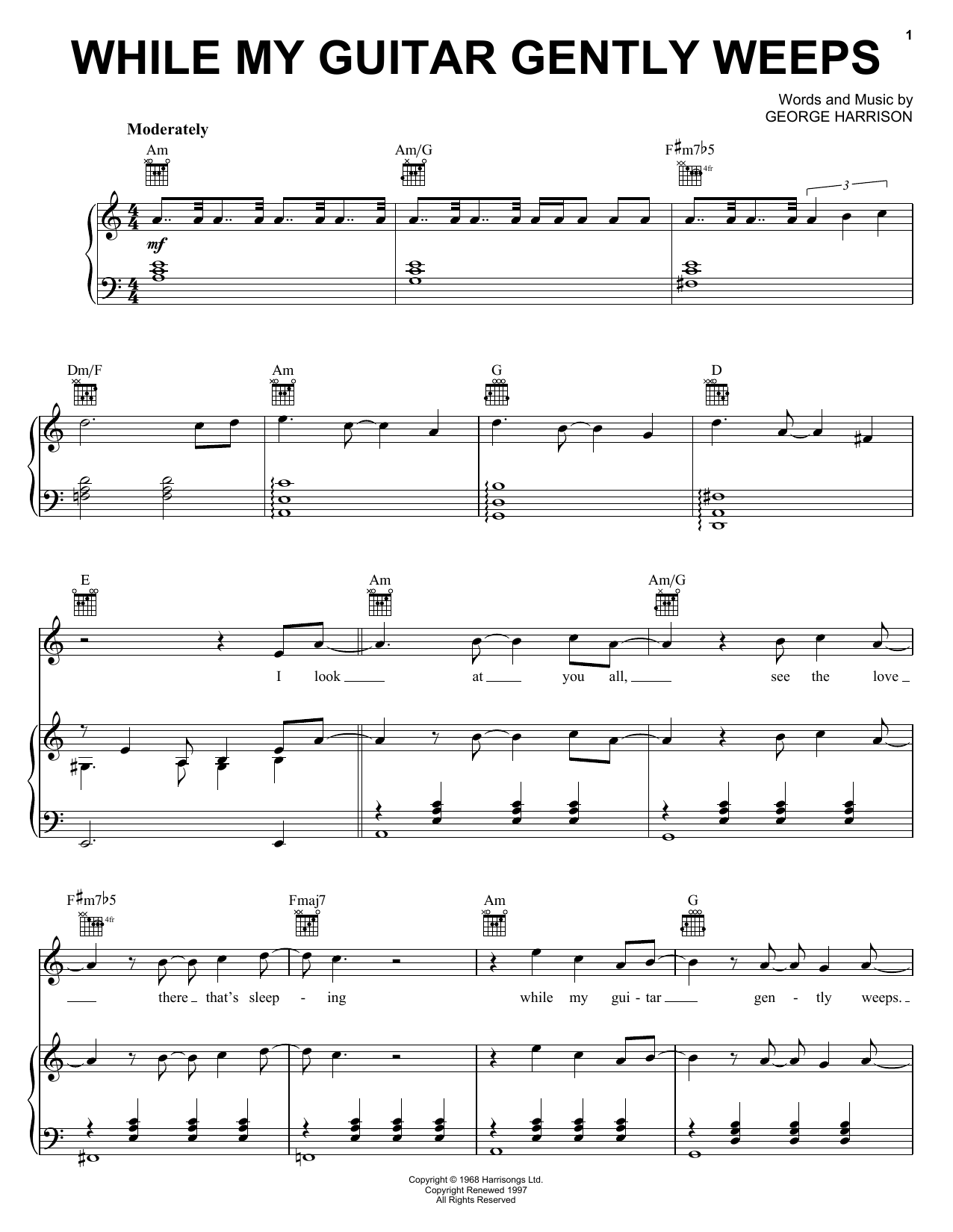 The Beatles While My Guitar Gently Weeps Sheet Music Notes Chords
