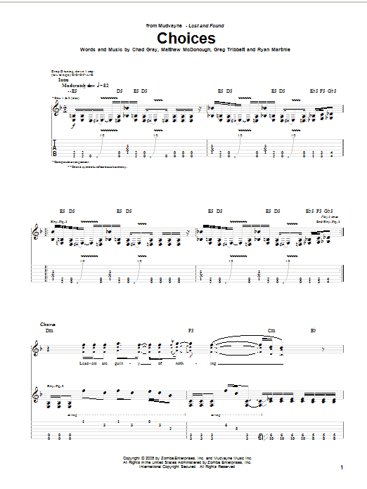 Mudvayne Choices Sheet Music Notes Chords Printable Rock Guitar