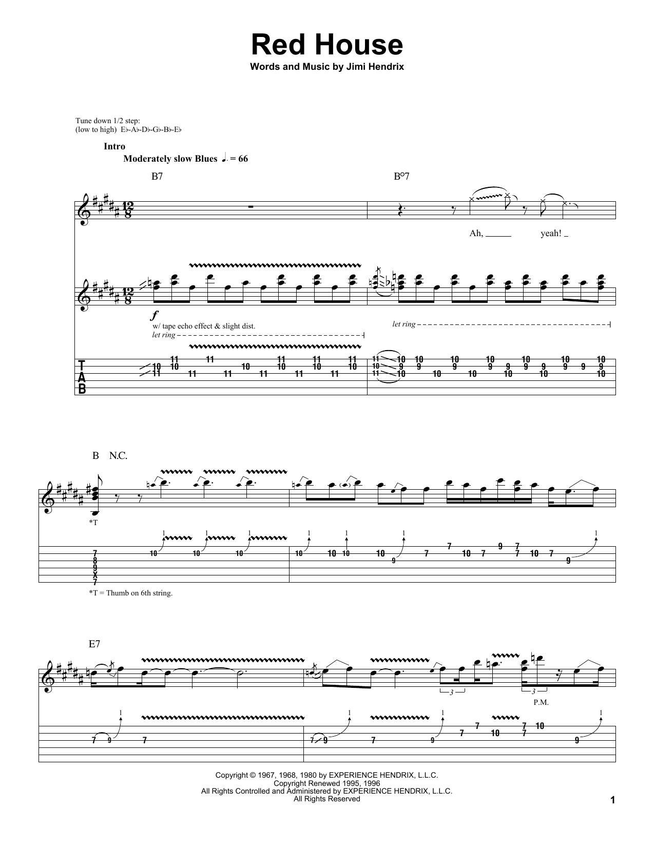 Jimi Hendrix Red House Sheet Music Notes Chords Printable Pop