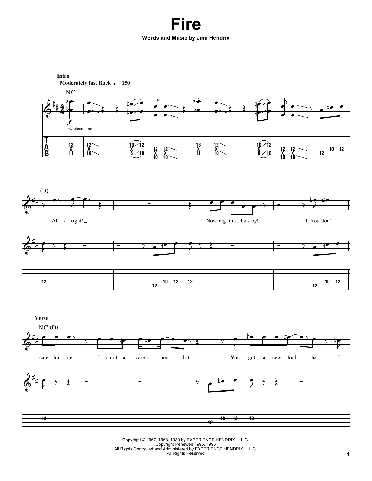Jimi Hendrix Fire Sheet Music Notes Chords Printable R B