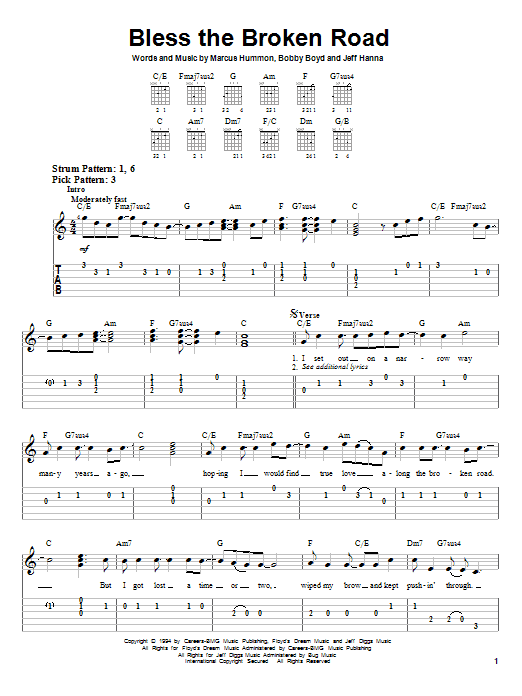 Rascal Flatts Bless The Broken Road Sheet Music Notes Chords