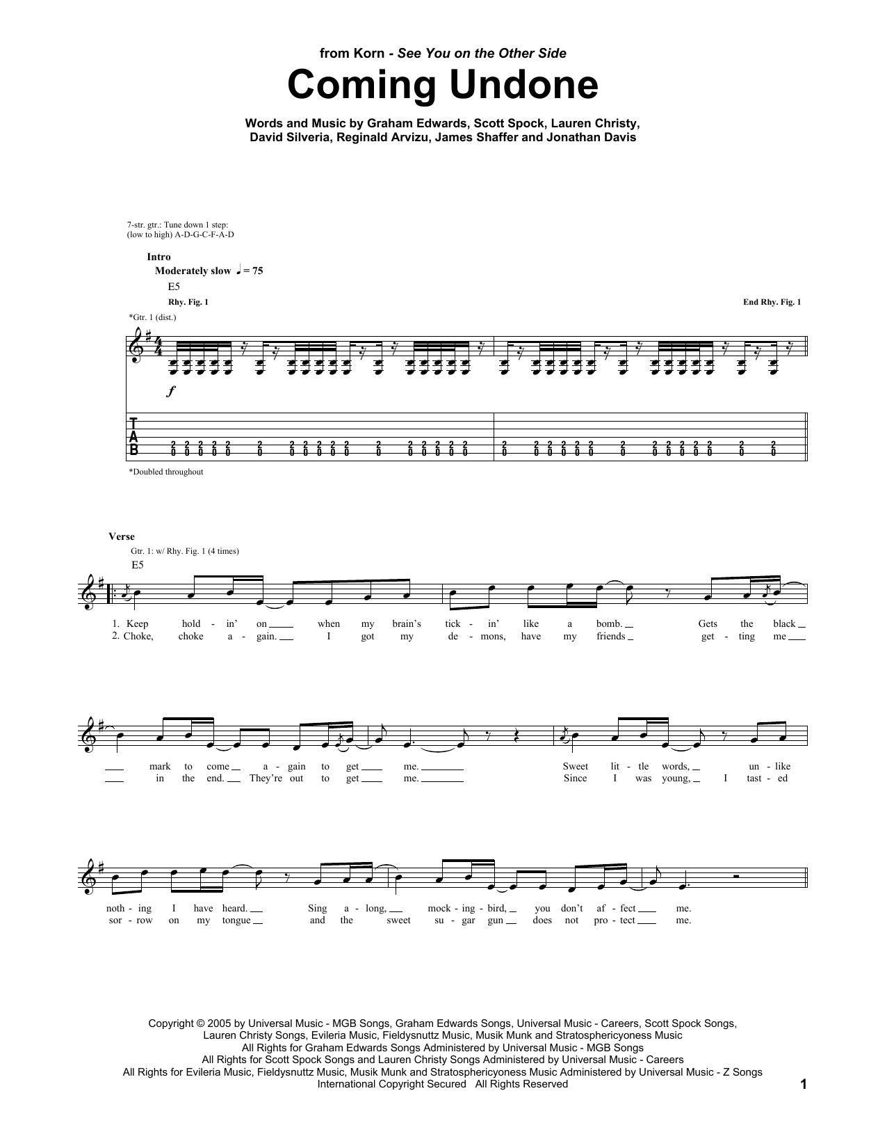 Korn Coming Undone Sheet Music Notes Chords Printable Rock