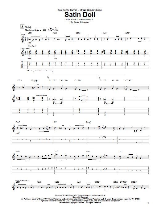 Kenny Burrell Satin Doll Sheet Music Notes Chords Printable
