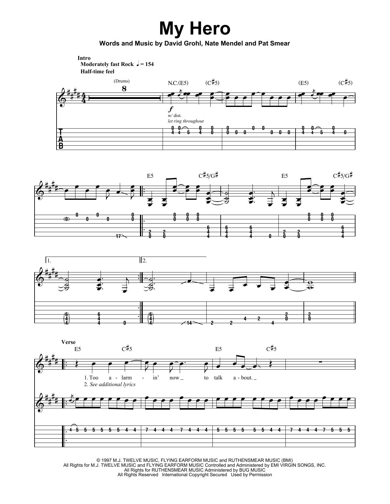 Foo Fighters My Hero Sheet Music Notes Chords Printable Rock