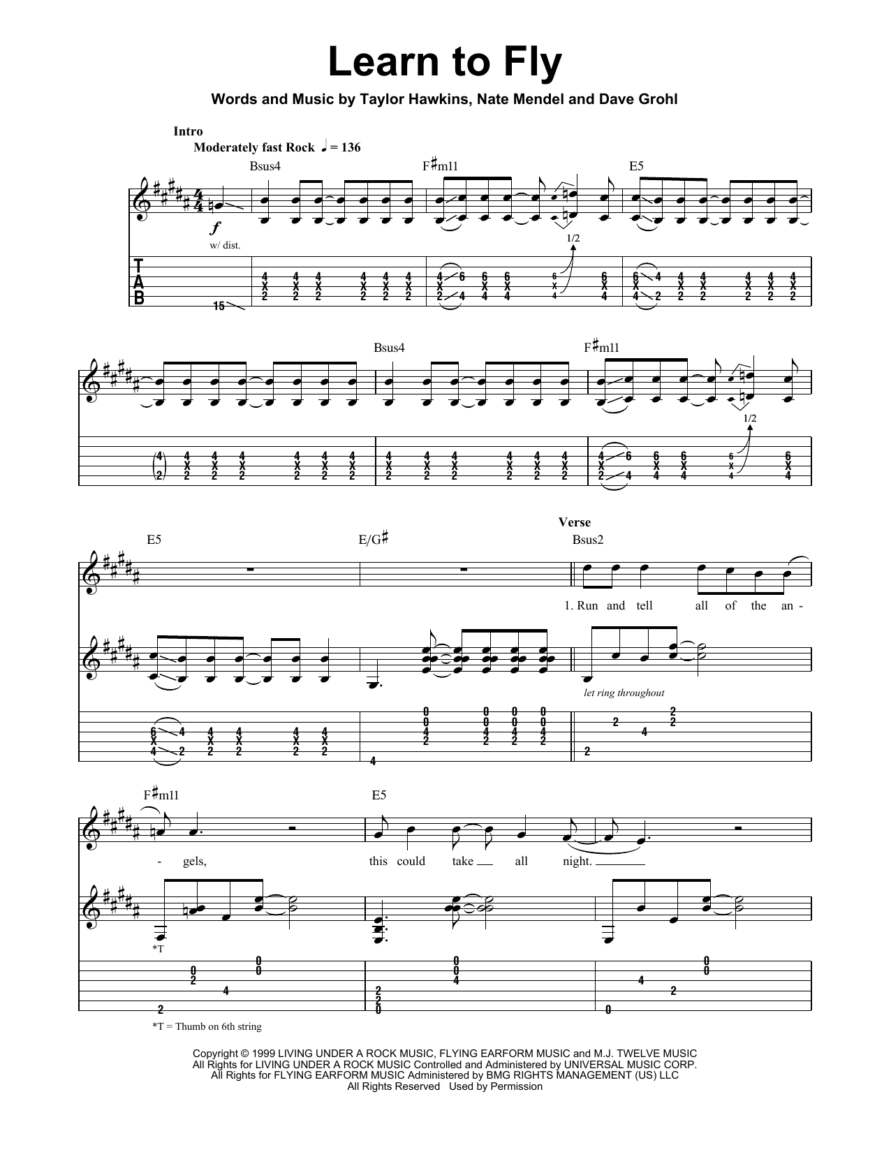 Foo Fighters Learn To Fly Sheet Music Notes Chords Printable