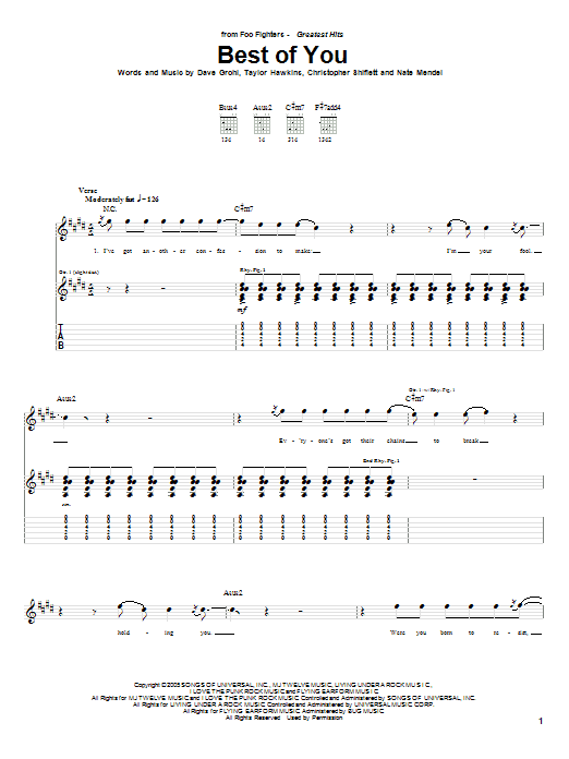 Foo Fighters Best Of You Sheet Music Notes Chords Printable