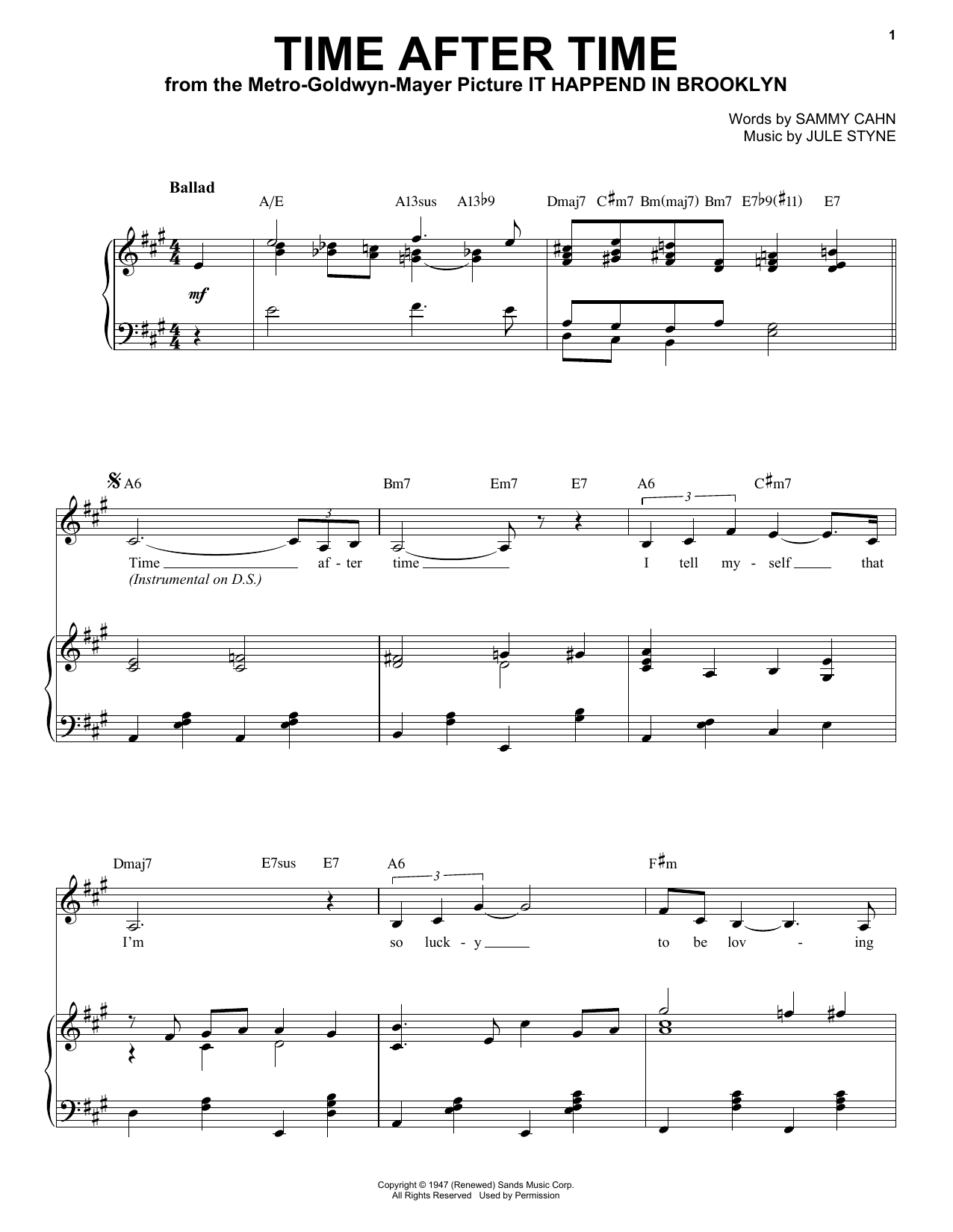 Frank Sinatra Time After Time Sheet Music Notes Chords