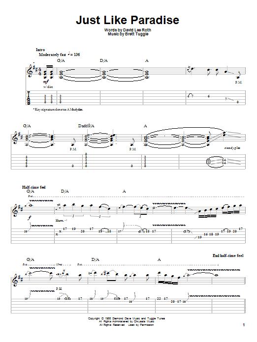 David Lee Roth Just Like Paradise Sheet Music Notes Chords