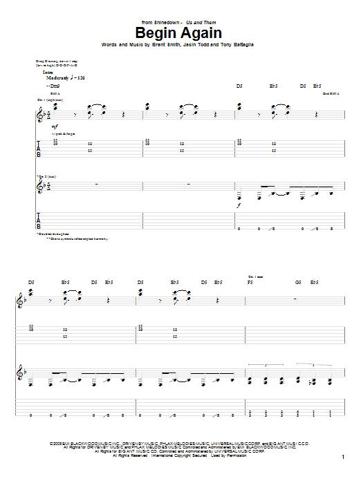 Shinedown Begin Again Sheet Music Notes Chords Printable Pop