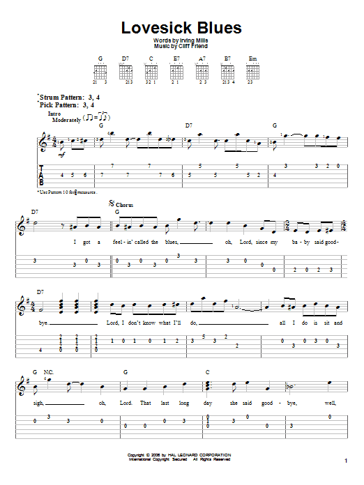 Hank Williams Lovesick Blues Sheet Music Notes Chords Printable