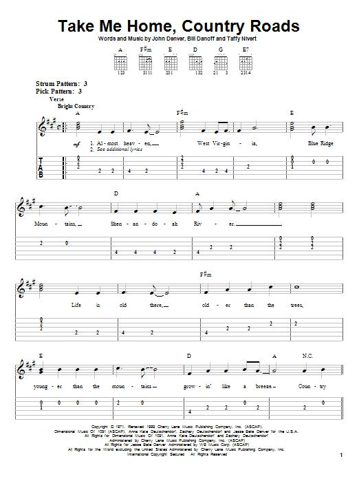 John Denver Take Me Home Country Roads Sheet Music Notes Chords