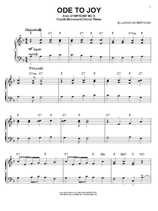 Ludwig Van Beethoven Ode To Joy Sheet Music Notes Chords