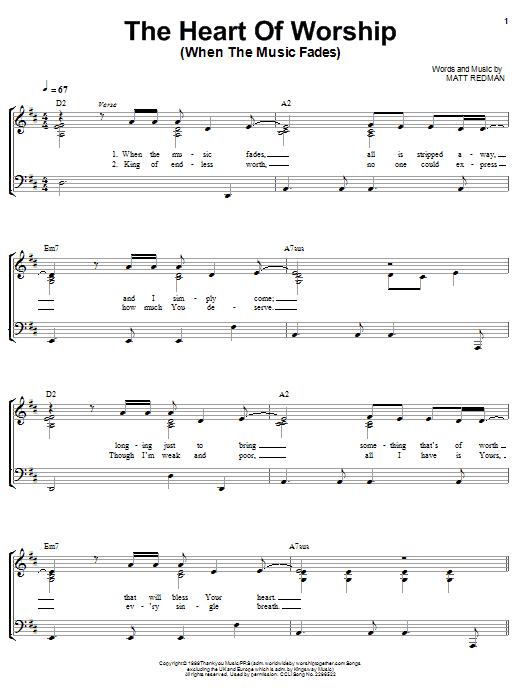 Matt Redman The Heart Of Worship Sheet Music Notes Chords