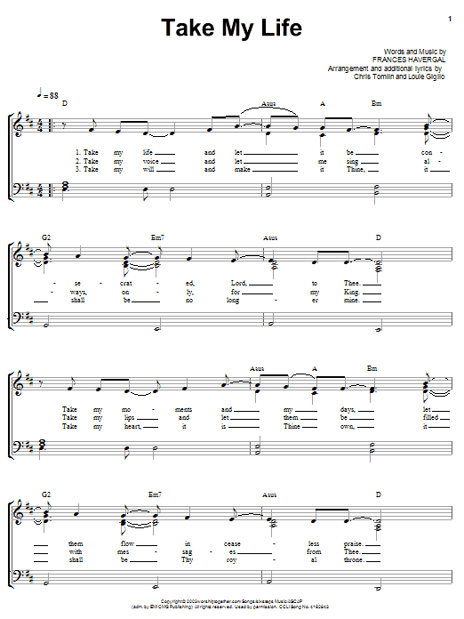 Chris Tomlin Take My Life Sheet Music Notes Chords Printable