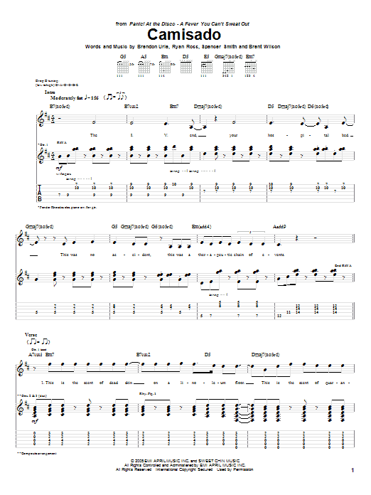 Panic At The Disco Camisado Sheet Music Notes Chords Printable