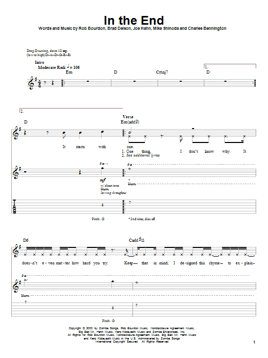 Linkin Park In The End Sheet Music Notes Chords Printable Pop