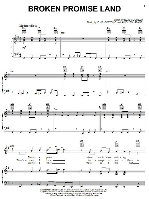 Elvis Costello And Allen Toussaint Broken Promise Land Sheet Music