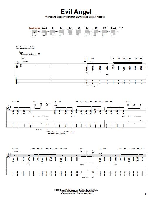 Breaking Benjamin Evil Angel Sheet Music Notes Chords Printable