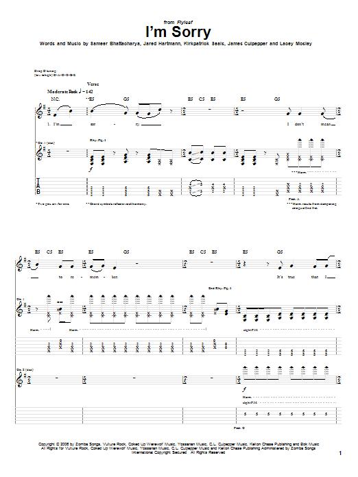 Flyleaf Im Sorry Sheet Music Notes Chords Printable Metal