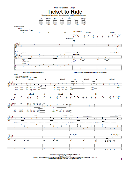 The Beatles Ticket To Ride Sheet Music Notes Chords Printable