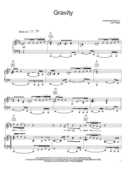 John Mayer Gravity Sheet Music Notes Chords Printable Rock
