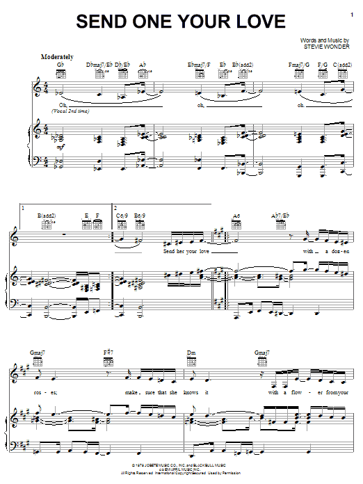Stevie Wonder Send One Your Love Sheet Music Notes Chords