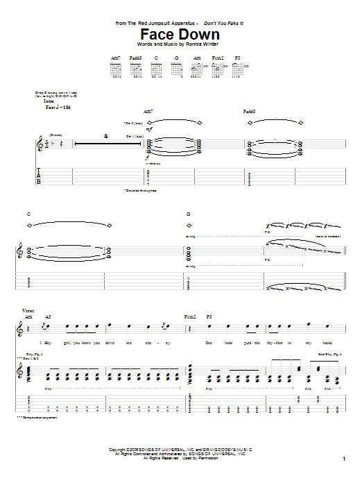The Red Jumpsuit Apparatus Face Down Sheet Music Notes Chords