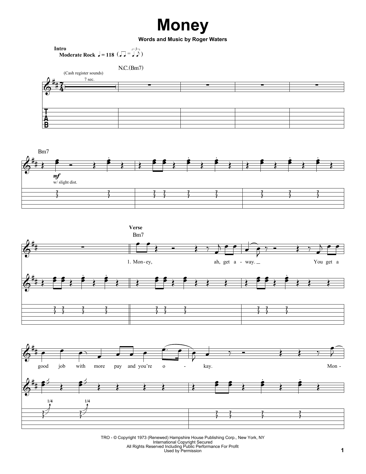 Pink Floyd Money Sheet Music Notes Chords Printable Rock Guitar