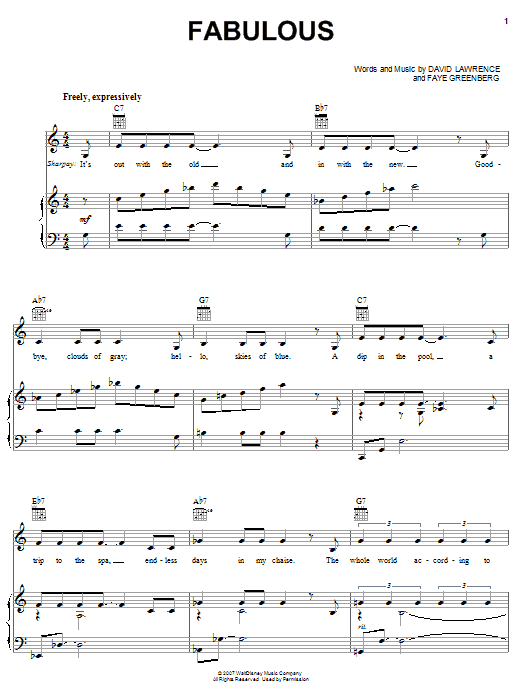 High School Musical 2 Fabulous Sheet Music Notes Chords