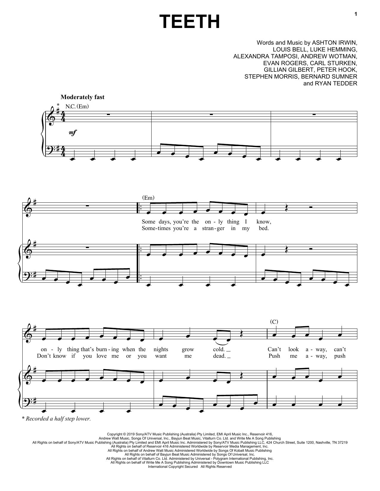 5 Seconds of Summer Teeth sheet music notes and chords