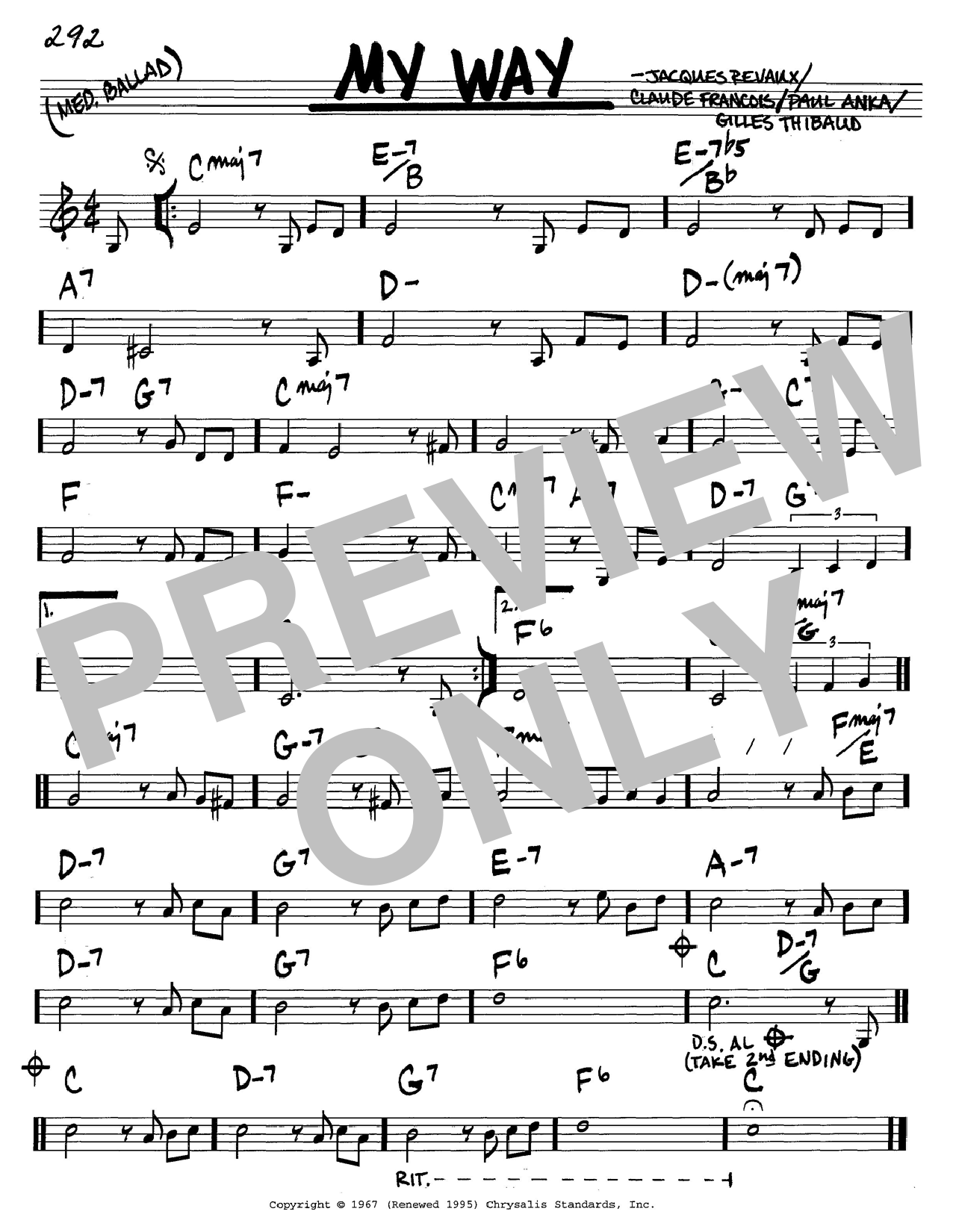 Paul Anka My Way Sheet Music Notes Chords Printable Jazz Real