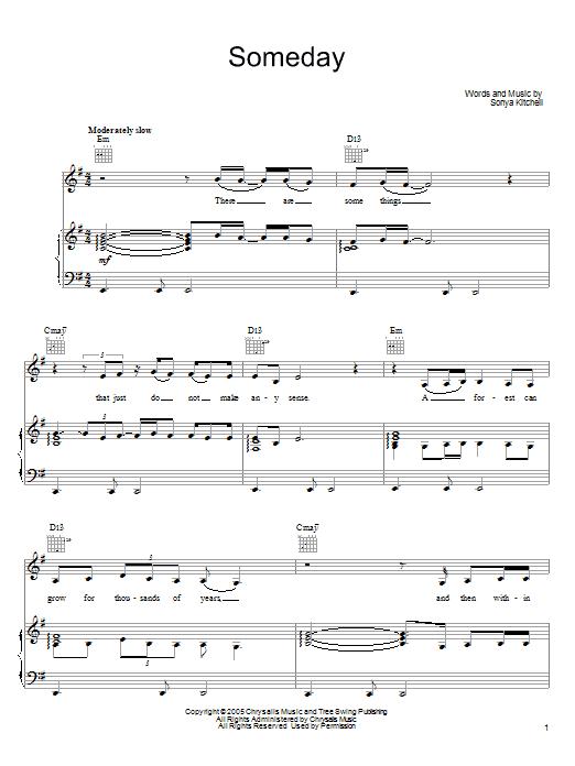 Sonya Kitchell Someday Sheet Music Notes Chords Printable Pop