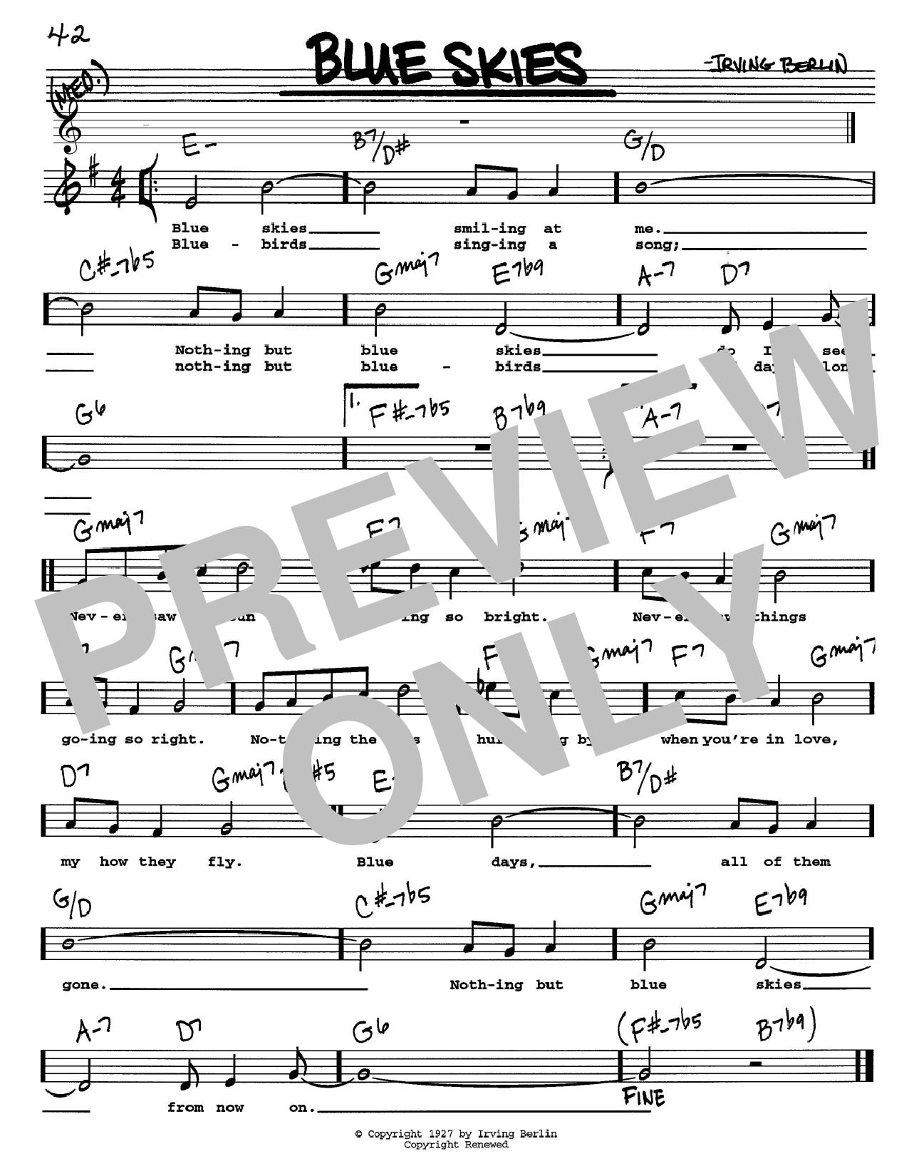 Irving Berlin Blue Skies Sheet Music Notes Chords Printable