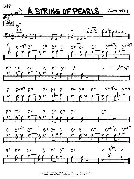 Eddie De Lange A String Of Pearls Sheet Music Notes Chords