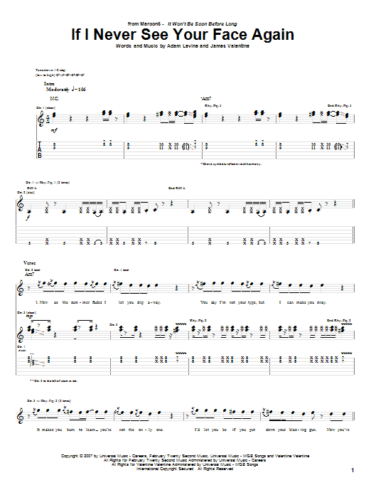 Maroon 5 If I Never See Your Face Again Sheet Music Notes Chords