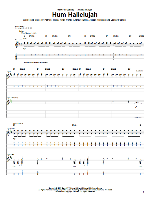 Fall Out Boy Hum Hallelujah Sheet Music Notes Chords Printable