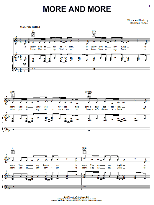 Michael Neale More And More Sheet Music Notes Chords Printable