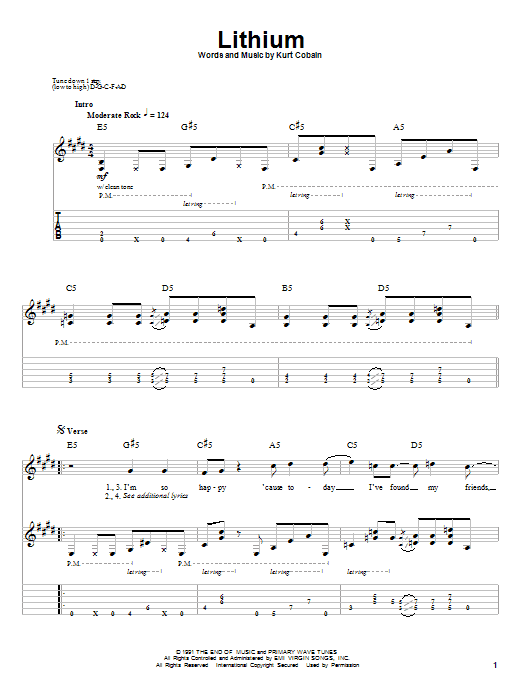 Nirvana Lithium Sheet Music Notes Chords Printable Pop Guitar