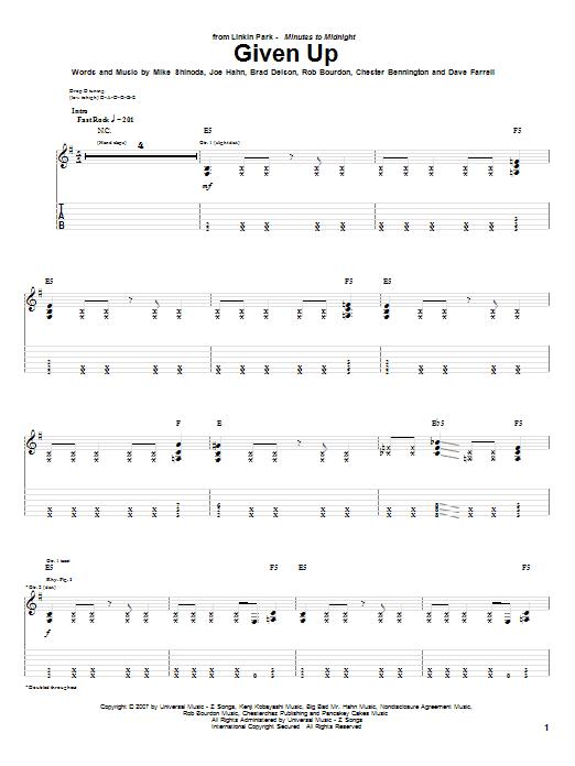 Linkin Park 'Given Up' Sheet Music Notes, Chords | Download Printable  Guitar Tab - SKU: 62859